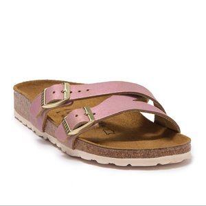 Birkenstock Yao Metallic Rose Slide Sandal 39, 9